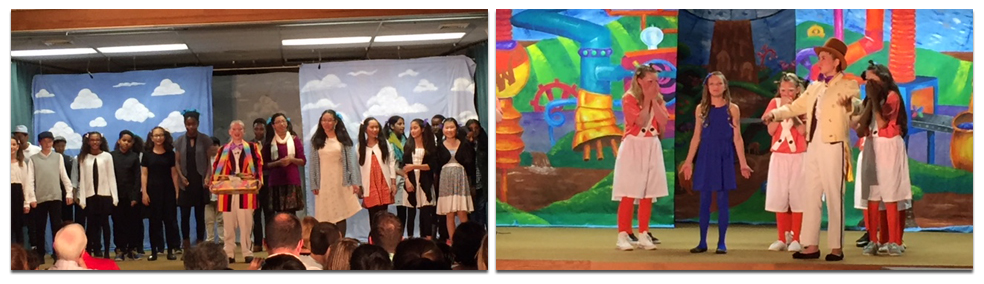 Two color photographs from the musical Willy Wonka, Jr. The first shows a group of at least 20 students on stage singing. The second photograph shows a scene where students playing Willy Wonka and Violet Beauregarde are interacting with a group of Oompa Loompas. The costumes and stage background are very cheery, bright, and colorful.
