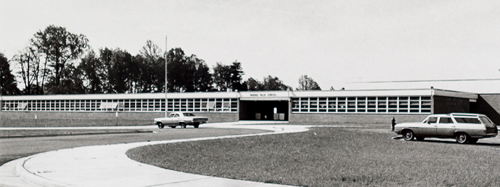 Black and white photograph of the front of Fairfax Villa Elementary School taken in late 1960s.